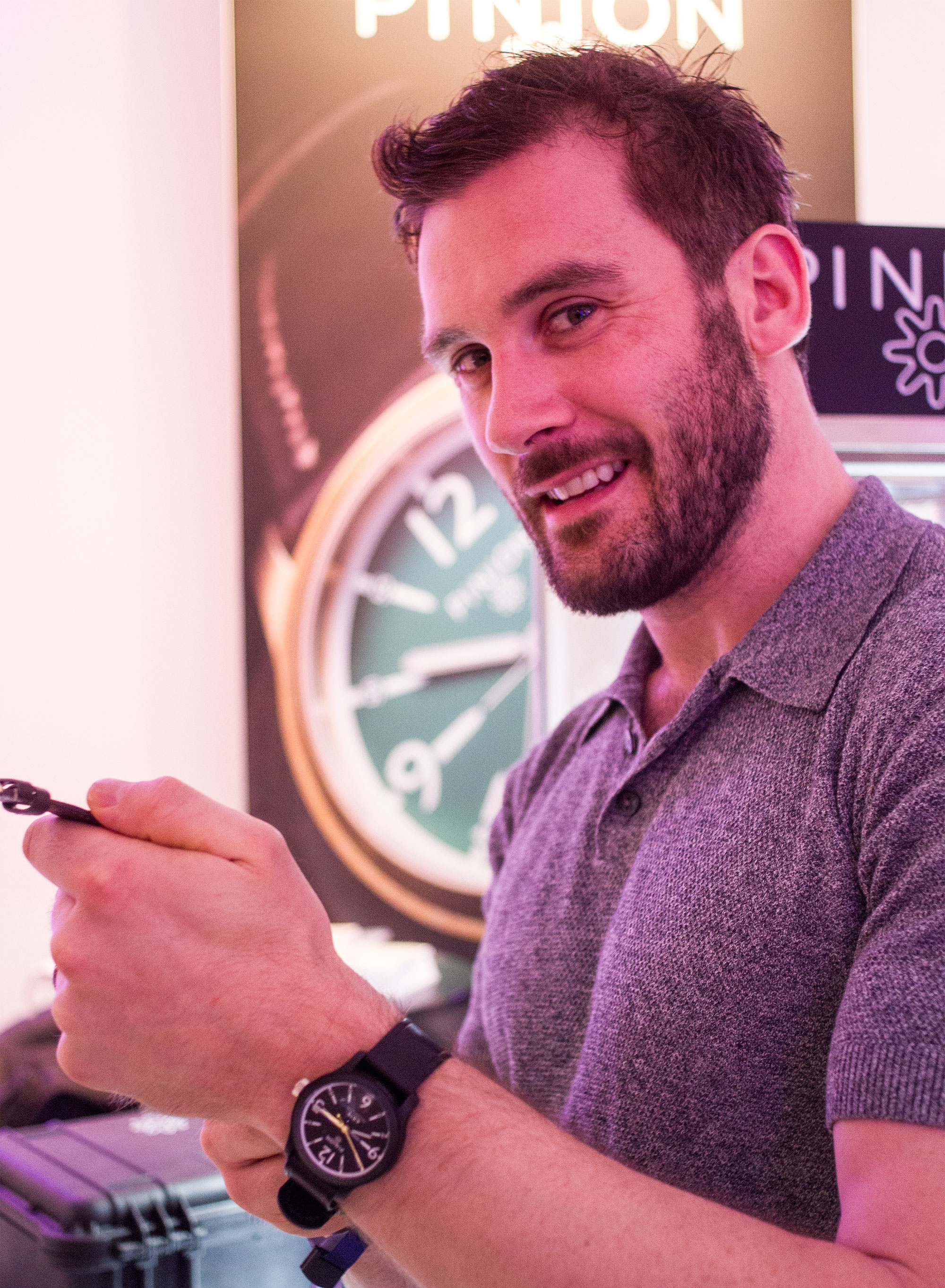 Clive Standen at Pinion's stand SalonQP